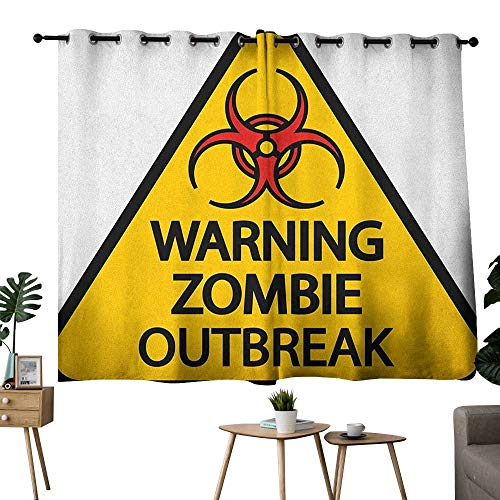 homecoco Zombie Grommets Party Darkening Curtains Warning The Zombie Outbreak Sign Cemetery Infection Halloween Graphic Bedroom/Living Earth Yellow Red Black W72 x L45 -