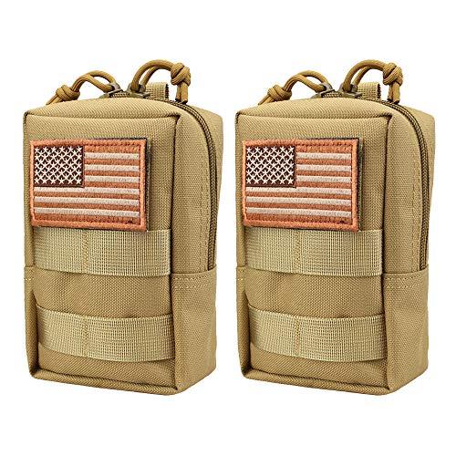 (AMYIPO MOLLE Pouch Multi-Purpose Compact Tactical Waist Bags Small Utility Pouch (Khaki (2 PCS)))