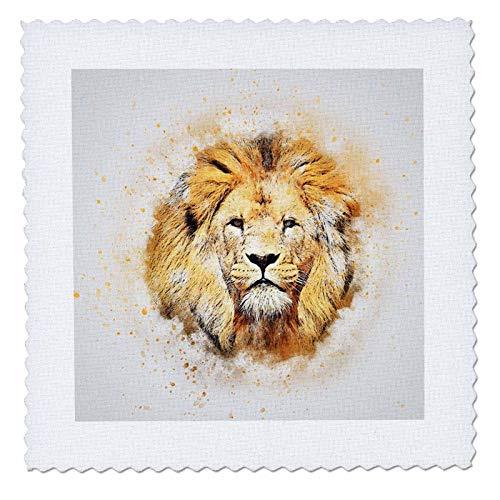 3dRose Lens Art by Florene - Watercolor Art - Image of Portrait Painting of Majestic Lion - 10x10 inch Quilt Square (qs_300361_1)