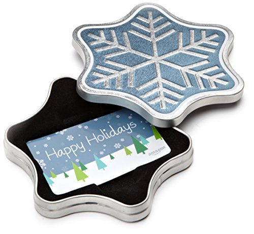 Amazon.com Gift Card in a Snowflake Tin (Happy Holidays Card Design)]()