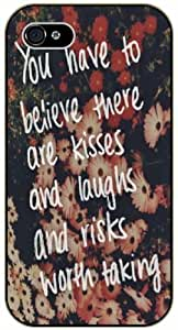 You have to believe there are kisses and laughs and risks worth taking - Floral pattern vintage - Bible verse iPhone 5 / 5s black plastic case / Christian Verses