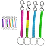 4pc Coil Cord Stretch Tether Keychain Ring - Bright Pearlized Colors - Taiwan