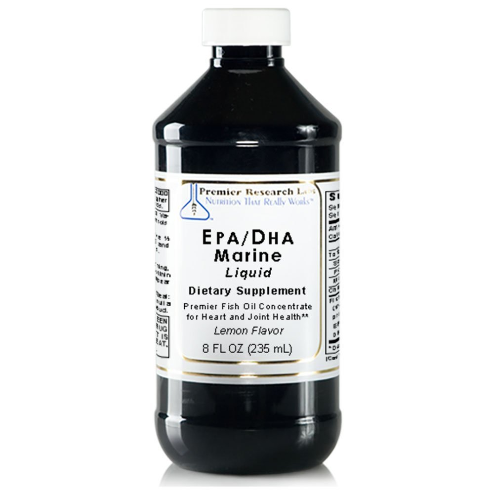 Premier Research Labs EPA/DHA Marine Liquid, 32 fl oz - Fish Oil Concentrate without molecular distillation. Promotes Heart & Joint Health with Lemon Flavor