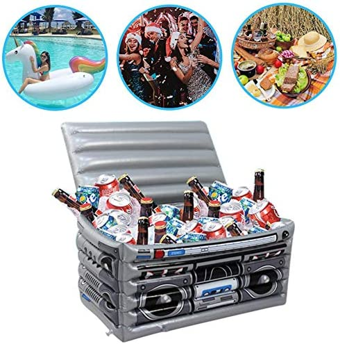 aheadad Eiskübel für Getränke, aufblasbare Servierbar Getränkebehälter Tragbare PVC-Eisaufbewahrungsbox Radio Aufblasbare Eisportions-Buffetbar Ideal für Schwimmbadpartys, Home Bar-Wasserpartys