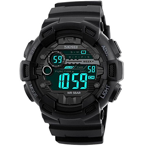 Mens Sport Digital Waterproof Watch Military LED Electronic Casual Watches with Stopwatch Chronograph Alarm Calendar Luminous Army Watch - ()
