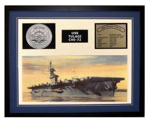 Navy Emporium USS Tulagi CVE 72 Framed Navy Ship Display Blue