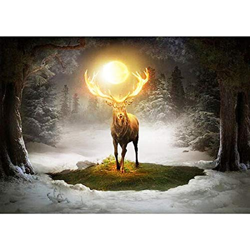 Yeefant Holy Elk Diamond Painting Kits for Adults,5D DIY Rhinestone Embroidery Cross Stitch Paintings Full Drill by Number Sets for Home Livingroom Bedroom Wall Decor Artcraft-12x16inch
