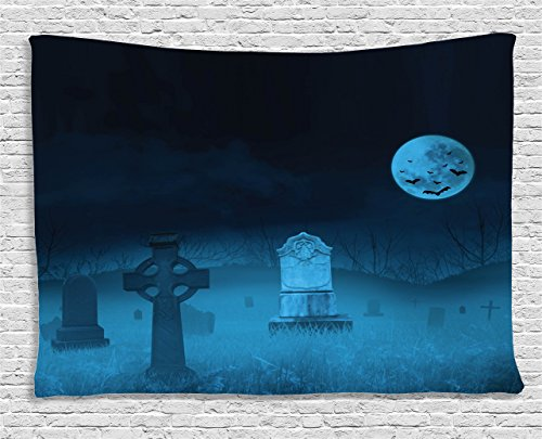 Ambesonne Gothic Decor Collection, Ghostly Graveyard Illustration Horror Halloween Dead Danger Theme Full Moon and Bat Mystery Art, Bedroom Living Room Dorm Wall Hanging Tapestry, 80 X 60 Inches, Blue