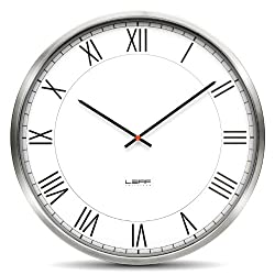 One45 Wall Clock Color: Stainless Steel/White, Type: Roman