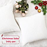 Decorative Pillow Cover - Home Brilliant Christmas Decor Striped Corduroy Velvet Cushion Covers Set for Baby Square Decorative Pillowcase, Off-White, Set of 2, 18