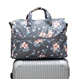 Ac.y.c Travel Duffel Bag for Women Foldable Carry On Express Weekender Organiser (Dark Grey Flowers)
