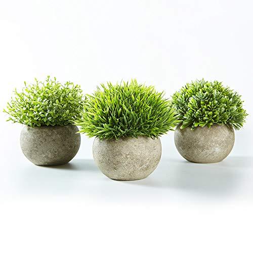 Jobary Set de 3 Plantas Artificiales con Cesped Verde en Macetas Grises, Plantas Pequenas Sinteticas de Plastico Decorativas, Ideales para la Decoracion de la Casa, Cocinas, Oficinas y Exteriores