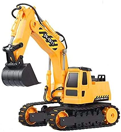 17 Channel Excavator Toy 1//16 Remote Control Truck Digger with Metal Shovel Lights Sounds 1 Rechargeable Batteries 2.4Ghz Construction Toys Vehicles