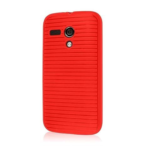 Empire Gruve - Carcasa con protector de pantalla para Motorola Moto G (TPU), color rojo