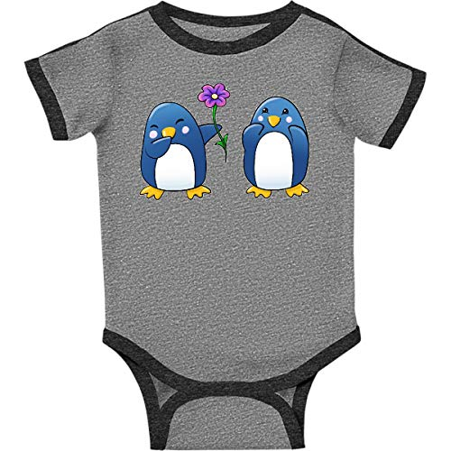 (inktastic - Cute Penguins Infant Creeper 6 Months Ringer Heather and Smoke 2e5b8)