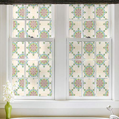 (DKTIE Window Cling Stained Glass Window Film Decorative Window Film Vinyl Non Adhesive Privacy Film, for Bathroom Shower Door Heat Cotrol Anti UV 17.7In.by 78.7In. …)