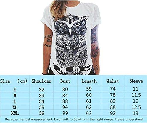 Camicie Faith Stampa Lettere Maglietta a Maniche Donna Maglietta Solido 01 Occhio Wings Bluse Donne e Allentata Gufo della Modello Corte Shirt T Girocollo Colore di Stampa C0tP0xwqr