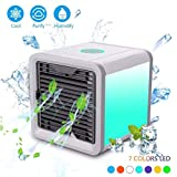 Air Cooler, Mini Portable Air Humidifier And Purifier & 7 Color Adjustable LED Lights, 3 Speed Air Conditioner For Bedroom And Office