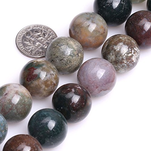 GEM-inside Indian Agate Gemstone Loose Beads Natural Round 16mm Crystal Energy Stone Healing Power for Jewelry Making 15''
