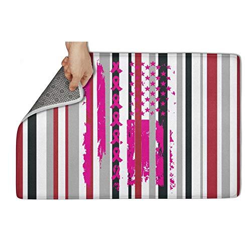 Gaaskelled Large Indoor/Outdoor Doormat,Pink Ribbon American Flag Breast Cancer Non Slip Duty Front Entrance Door Mat Rug,Easy Clean Door Mat ()