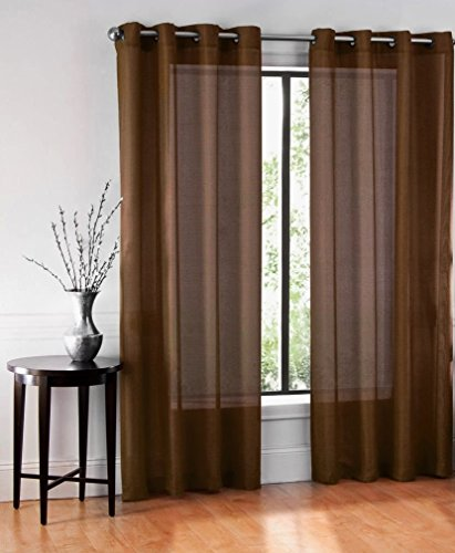 GorgeousHomeLinen (Ruby)Different Colors & Sizes 2 Pc Sheer Window Curtain Drape Panels 8 Soild Bronze Grommets (63