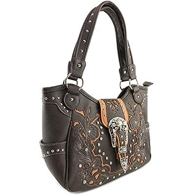 Justin West Floral Buckle Shoulder Concealed Carry Tote Handbag Dark Brown Purse