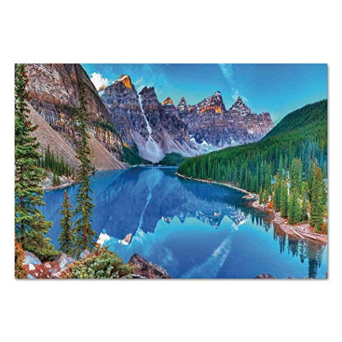 Funky Wall Mural Sticker [ Lake House Decor,Moraine Lake Sunrise in Banff National Park Clear Sky Reflection Colorful Picture,Blue Green ] Self-Adhesive Vinyl Wallpaper/Removable Modern Decorating W ()