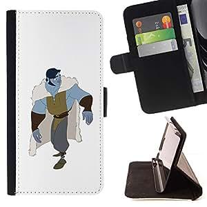 Momo Phone Case / Flip Funda de Cuero Case Cover - Blanca Blue Monster héroe Carácter - Huawei Ascend P8 Lite (Not for Normal P8)