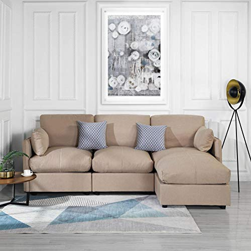 Beige Upholstered Linen Sectional Sofa Couch Modern L Shape Sectional,  Sectional Sofas and Couches, Sofa Couch with Chaise, for Small/Large Living  ...