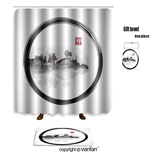 Vanfan Bath Sets With Polyester Rugs And Shower Curtain Island Trees In Fog On White