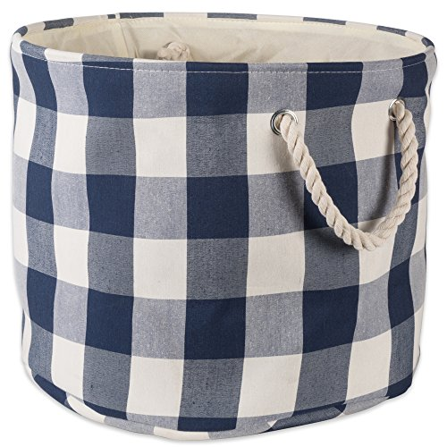 DII Polyester Storage Basket or Bin with Durable Cotton Handles, Home Organizer Solution for Office, Bedroom, Closet, Toys, Laundry, Medium Round, Navy & Off-White