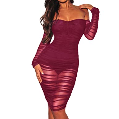 ea830712b758 OCEAN-STORE Dresses for Women Work Casual Slash Neck Off Shoulder Sexy  Strapless Club Party Sheath Dress Black at Amazon Women s Clothing store