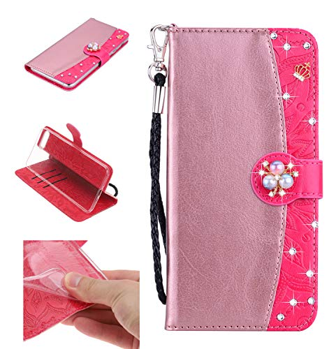 Shinyzone Leather Wallet Case for iPhone 8/iPhone 7,Premium PU Embossed Sunflower Pattern with Diamond Pearl Magnetic,Transparent Soft TPU Flip Cover,Rose Gold and Magenta ()