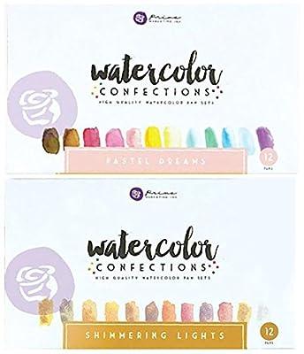 Prima Marketing Watercolor Confections Watercolor Pans Bundle - Pastel Dreams, Shimmering Lights - Set of 2