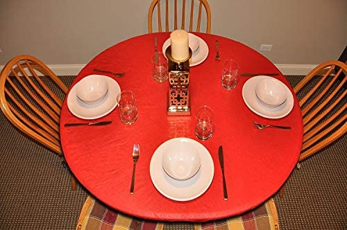 Elastic Edged Flannel Backed Vinyl Fitted Table Cover – RED Pattern – Large Round – Fits Tables up to 45 – 56 Diameter