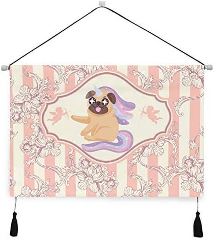 犬のピンクの足ぶら下げ絵画 壁アート 吊りキャンバス 印刷 絵画 アートワーク 写真 ホーム用