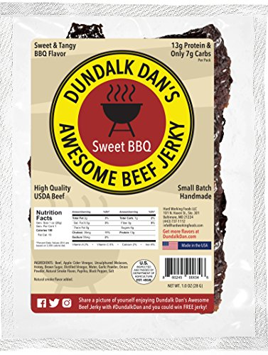 Dundalk Dan's Sweet and Tangy Barbecue Beef Jerky (1 ounce snack pack) - High Protein, Low Carb, Gluten Free