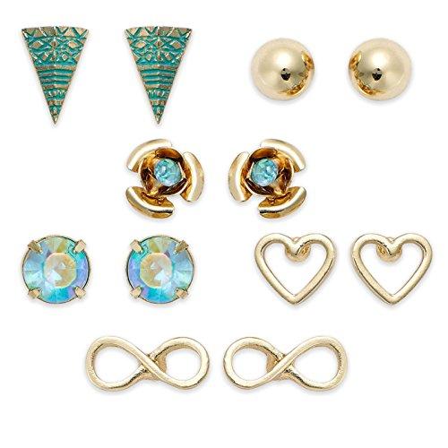 American Rag Gold-Tone Hearts, Infinity Symbol, Aqua Blue Stone Stud Earring Set, Set of 6