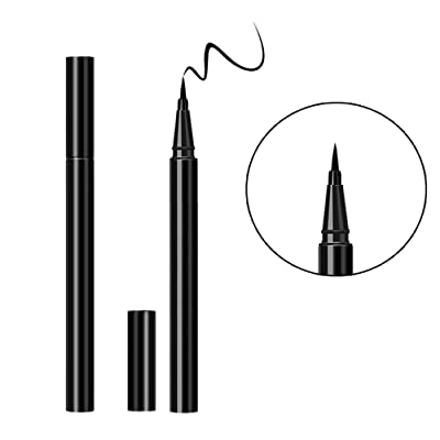 Black Liquid Eyeliner Pencil, Waterproof Smudge Proof Eye Liner Pen Cover Blend Long Lasting Makeup with Cat Eyeliner Stencils Eyeshadow Plate for Eye Makeup