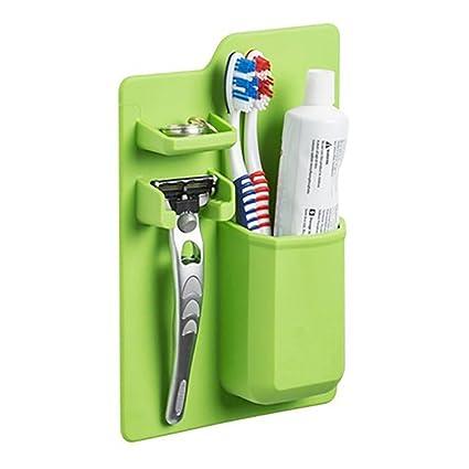 Soporte para cepillo de dientes de pasta de dientes, organizador de baño de color sólido