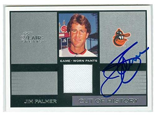 Jim Palmer autographed game used uniform piece baseball card (Baltimore Orioles) 2002 Fleer Flair #CHJP Cut of History