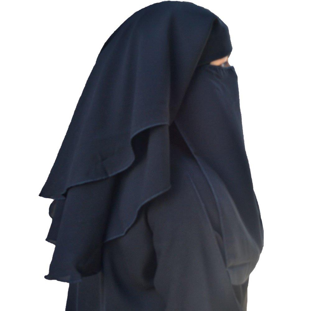 Niqab 3-layer Fluttery Butterfly Saudi Niqab (Black)