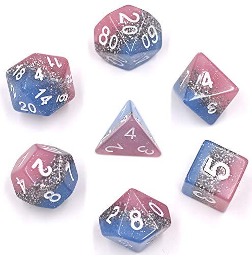 HDdais Polyhedral 7-Die Dice Set Dungeons Dragons RPG Blue Velvet Pouch (Pink Blue)