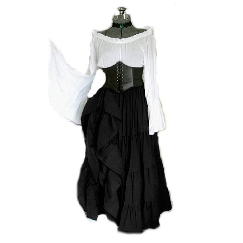 Weant Medieval Costume Women Vinatge Retro Renaissance Medieval Dress Plus Size Gothic Floor Length Cosplay Retro Long Gown Dress for Women Teen Girls Fashion Elegant Evening Party Dress Princess