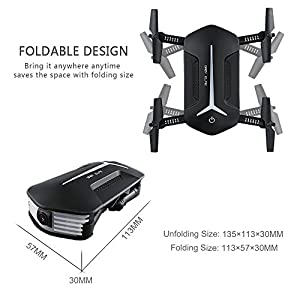 JJRC H37 Mini Baby Selfie Wifi FPV 720P Camera Quadcopter Gravity Sensor RC Drone with HD Camera Live Video Selfie Foldable Arms Altitude Hold Headless Mode, Bonus Battery and Hand Bag by Teeggi