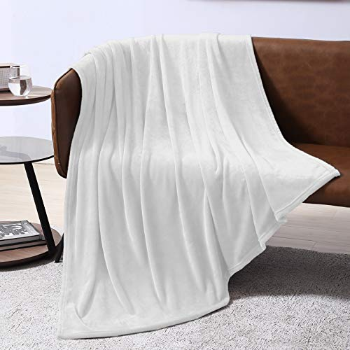 EXQ Home Fleece Blanket White Throw Blanket for Couch or Bed - Super Soft Microfiber Fuzzy Flannel Blanket for Adults or Pet (Lightweight,Non Shedding)