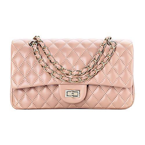 (SanMario Designer Handbags Lambskin Classic Quilted Grained Double Flap Gold Tone Metal Chain Women's Crossbody Shoulder Bag Apricot 25.5cm/10