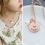 Rose Gold Valentine Gift Heart Necklace - DII - Little Girls Jewelry Charm - Girlfriend Wife Personalized Name Love - Romantic Pearl - 5/8 Inch Disc