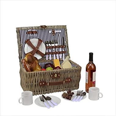 4-Person Hand Woven Warm Gray Brown Willow Picnic Basket Set with Accessories
