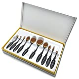 Oval Makeup Brush Set, 10 Professional Cosmetic Brushes, Applies for Seamlessly Foundation Blush Face Powder Blending Eyeshadow Eyebrow Black Flexible Curved Handle